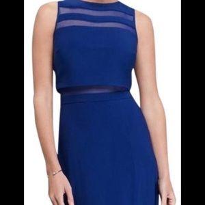 Floor length blue and mesh Nightway gown